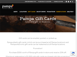 Pampa Brazilian Steakhouse gift card purchase
