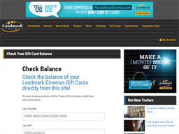 Landmark Cinema gift card balance check