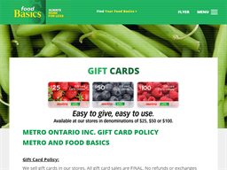 Food Basics gift card purchase