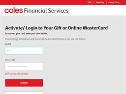 Coles Online Mastercard gift card balance check