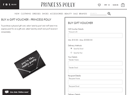 Princess Polly gift card purchase
